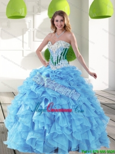 Sophisticated 2015 Sweetheart Aqua Blue Quinceanera Dresses with Beading and Ruffles