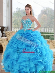2015 Luxury Sweetheart Baby Blue Sweet 15 Dresses with Beading and Ruffles