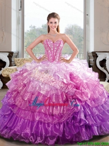 2015 New Style Beading and Ruffled Layers Multi Color Dresses for Quince