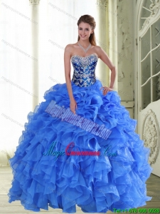 2015 New Style Beading and Ruffles Strapless Sweet 15 Dresses in Blue