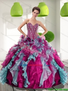 2015 New Style Sweetheart Quinceanera Dresses with Beading and Ruffles