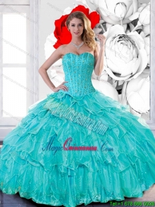 Feminine Sweetheart 2015 Quinceanera Dresses with Beading and Ruffled Layers