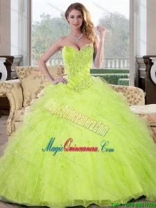 Luxurious Beading and Ruffles Sweetheart 2015 Sweet 16 Dresses in Yellow Green