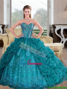 Luxury 2015 Sweetheart Quinceanera Dresses with Beading and Pick Ups