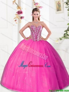 Luxury Beading and Pick Ups 2015 Quinceanera Dresses in Hot Pink