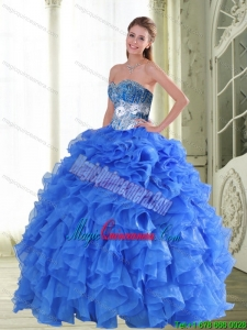 Luxury Beading and Ruffles Sweetheart Blue Quinceanera Gown for 2015 Spring