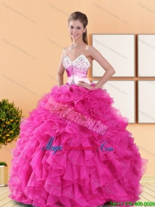 Luxury Hot Pink 2015 Quinceanera Dresses with Beading and Ruffles