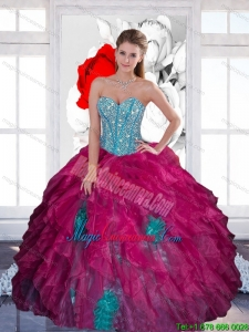 Luxury Sweetheart Beading Ball Gown 2015 Quinceanera Dress with Ruffles