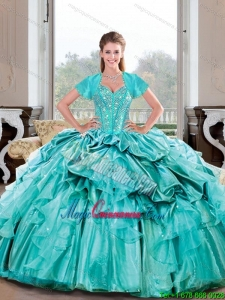 Luxury Sweetheart Beading and Ruffles Turquoise Quinceanera Dresses for 2015 Spring
