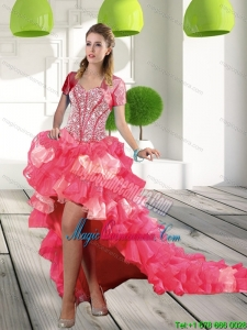 New Arrival Coral Red High-low Dama Dresses with Beading and Ruffled Layers