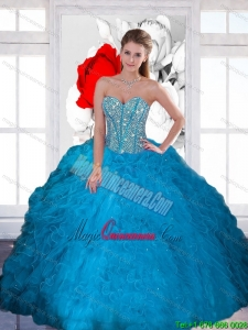 New Style Beading and Ruffles Sweetheart Teal Quinceanera Dresses for 2015