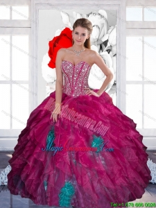 New Style Sweetheart Beading Multi Color 2015 Quinceanera Dress with Ruffles