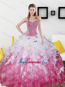 2015 Luxury Sweetheart Sweet 15 Dresses with Beading and Ruffles