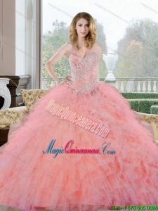 2015 New Style Beading and Ruffles Sweetheart Quinceanera Gown