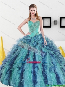 2015 New Style Sweetheart Quinceanera Dresses with Appliques and Ruffles