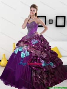 2015 New Style Sweetheart Quinceanera Dresses with Pick Ups and Appliques