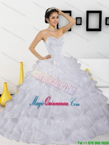 New Style Beading and Ruffled Layers White Quinceanera Dresses for 2015