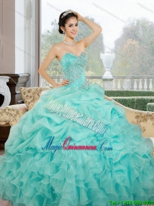 2015 Popular Sweetheart Quinceanera Dresses with Ruffles and Pick Ups