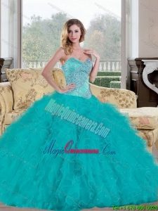 Popular 2015 Ball Gown Quinceanera Dress with Beading and Ruffles