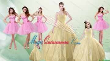2015 Beautiful Sweetheart Champagne Quinceanera Dress and Pink Dama Dresses and Straps Ball Gown Litter Girl Dress