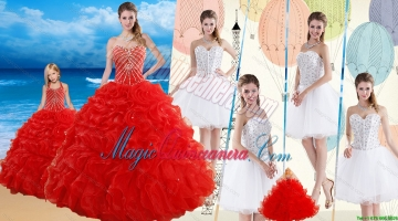 2015 Red Ruffled Quinceanera Dress and Beaded White Short Dama Dresses and Halter Top Beaded Pageant Dresses for Litter Girl