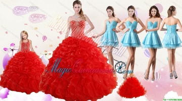 2015 Ruffled Red Quinceanera Gown and Light Blue Sweetheart Beading Prom Dresses and Halter Top Beaded Flower Girl Dress