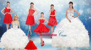 2015 Ruffles and Beading White Sweet 16 Dresses and Red Short Dama Dresses and Ruffles White Litter Girl Dress