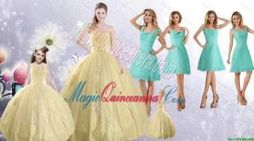 Champagne Ball Gown Quinceanera Dress and Square Knee Length Dama Dresses and Cute Beading Litter Girl Dress