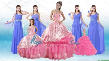 Ruffled Layers Sweetheart Quinceanera Dress and Elegant Ruching Long Dama Dresses and Rose Pink Floor Length Litter Girl Dress