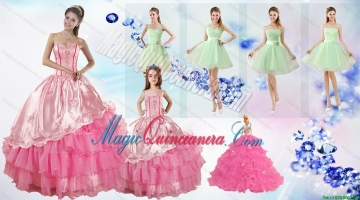 Ruffled Layers Sweetheart Quinceanera Dress and Ruching Apple Green Dama Dresses and Rose Pink Litter Girl Dress