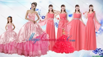 Ruffled Layers Sweetheart Quinceanera Dress and Watermelon Long Dama Dresses and Rose Pink Ball Gown Litter Girl Dress
