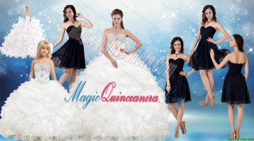 White Ball Gown Quinceanera Dress and Black Sweetheart Short Dama Dresses and Beading and Ruffles Litter Girl Dress