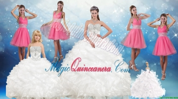 White Sweetheart Ruffles Quinceanera Dress and Sequins V Neck Pink Dama Dresses and Beading White Litter Girl Dress
