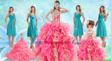 Beading Multi Color Ball Gown Quinceanera Dress and Ruching Knee Length Dama Dresses and Ruffles Spaghetti Straps Litter Girl Dress