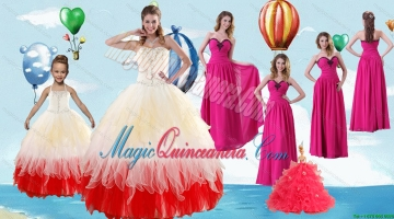 Beading Multi Color Quinceanera Gown and Hot Pink Sweetheart Long Prom Dresses and Halter Top Multi Color Litter Girl Dress