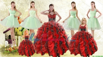 Beading Multi Color Sweetheart Quinceanera Gown and Apple Green Short Prom Dresses and Straps Ruffles Litter Girl Dress