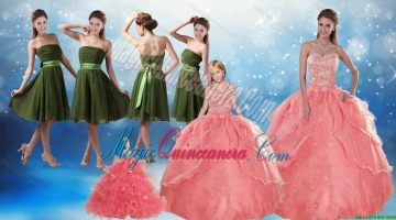 Beading Sweetheart 2015 Watermelon Quinceanera Dress and Strapless Knee Length Prom Dresses and Watermelon Halter Top Litter Girl Dress