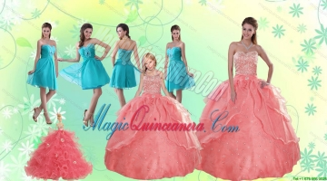 Beading Watermelon Quinceanera Gown and Baby Blue Short Dama Dresses and Halter Top Watermelon Litter Girl Dress