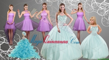 Cheap Sweetheart Beading Quinceanera Dress and Lilac Short Prom Dresses and Apple Green Spaghetti Straps Beading Pageant Dresses for Litter Girl