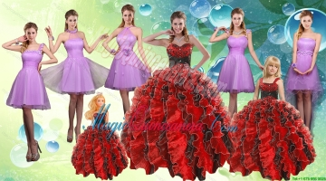 Sweetheart Ruffles Multi Color Quinceanera Dress and Knee Length Ruching Dama Dresses and Multi Color Litter Girl Dress