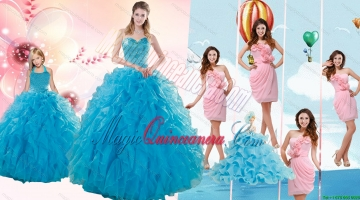 Teal Sweetheart Beading and Ruffles Sweet 16 Dress and Hand Made Flowers and Ruching Baby Pink Dama Dresses and Halter Top Ruffles Pageant Dresses for Litter Girl