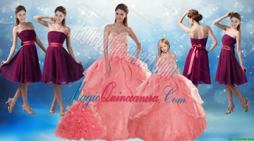 Watermelon Sweetheart Beading Quinceanera Gown and Elegnat Strapless Prom Dresses and 2015 Halter Top Beading Litter Girl Dress