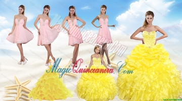 Yellow Sweetheart Beading Quinceanera Dress and Light Pink Short Prom Dresses and Ruffles and Beading Litter Girl Dress