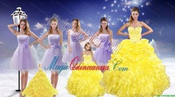 Yellow Sweetheart Beading Ruffles Quinceanera Dress and Lavender Short Dama Dresses and Beading Ruffles Litter Girl Dress