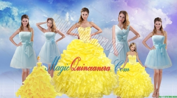 Yellow Sweetheart Rufflers Beading Quinceanera Dress and Bownot Short Prom Dresses and Yellow Spaghetti Straps Beading Pageant Dresses for Litter Girl