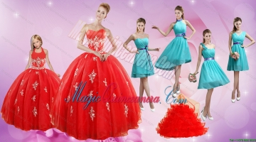 2015 Elegant Appliques Red Quinceanera Dress and Turquoise Short Dama Dresses and Halter Top Ball Gown Litter Girl Dress