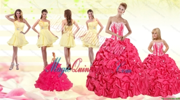 2015 Pick Ups Red Quinceanera Dress and Yellow One Shoulder Prom Dresses and Cute Red Litter Girl Dress