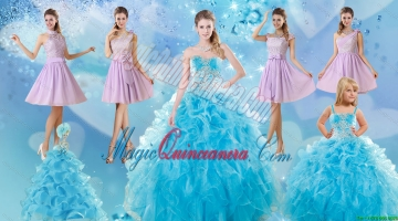 Baby Blue Ball Gown Ruffles Quinceanera Dress and Lilac Short Dama Dresses and Applique and Ruffles Litter Girl Dress