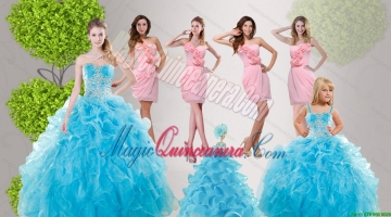 Baby Blue Ruffles Quinceanera Dress and Hand Made Flowers Baby Pink Dama Dresses and Straps Appliques Litter Girl Dress