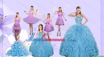 Beading Pretty Aqua Blue Quinceanera Gown and Lilac Short Dama Dresses and Halter Top Ruffles Pageant Dresses for Litter Girl